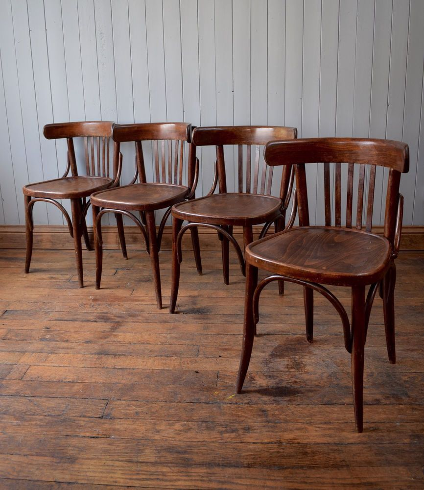 Vintage thonet style cafe chairs with stenciled seats - Vintage Mid Century Bistro Cafe Kitchen Chairs Bentwood Fischel Thonet Style X4