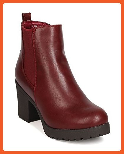 Refresh FG22 Women Leatherette Round Toe Chunky Heel Elastic Bootie - Wine (Size: 8.0) - Boots for women (*Amazon Partner-Link)