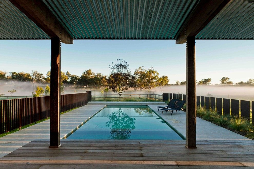 Innovative Pool Fences Trend Sydney Farmhouse Landscape Decorating Ideas With Australian Natives Bluescope Corrug Pool Fence Country Pool Farmhouse Landscaping