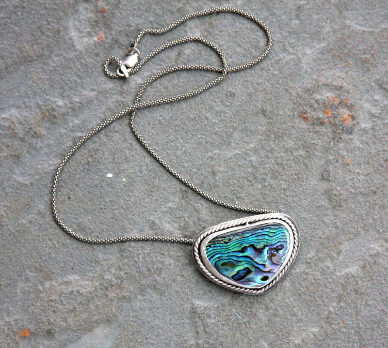 Paua shell necklace, Paua shell jewelry, beach jewelry, paua shell, sterling silver, statement necklace, metal smith, bezel set by HollyMackDesigns on Etsy