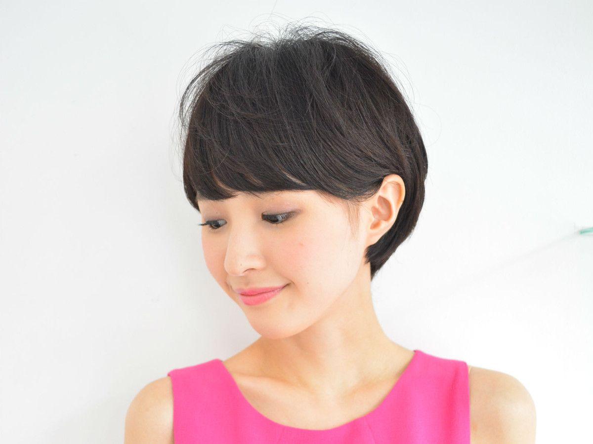 耳かけダークカラーショート 美髪 ショート 芸能人 ヘア アイディア