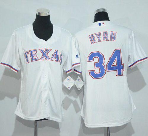 Rangers  34  Nolan  Ryan White Women s Home  StitchedMLBJersey  d6882b0f3