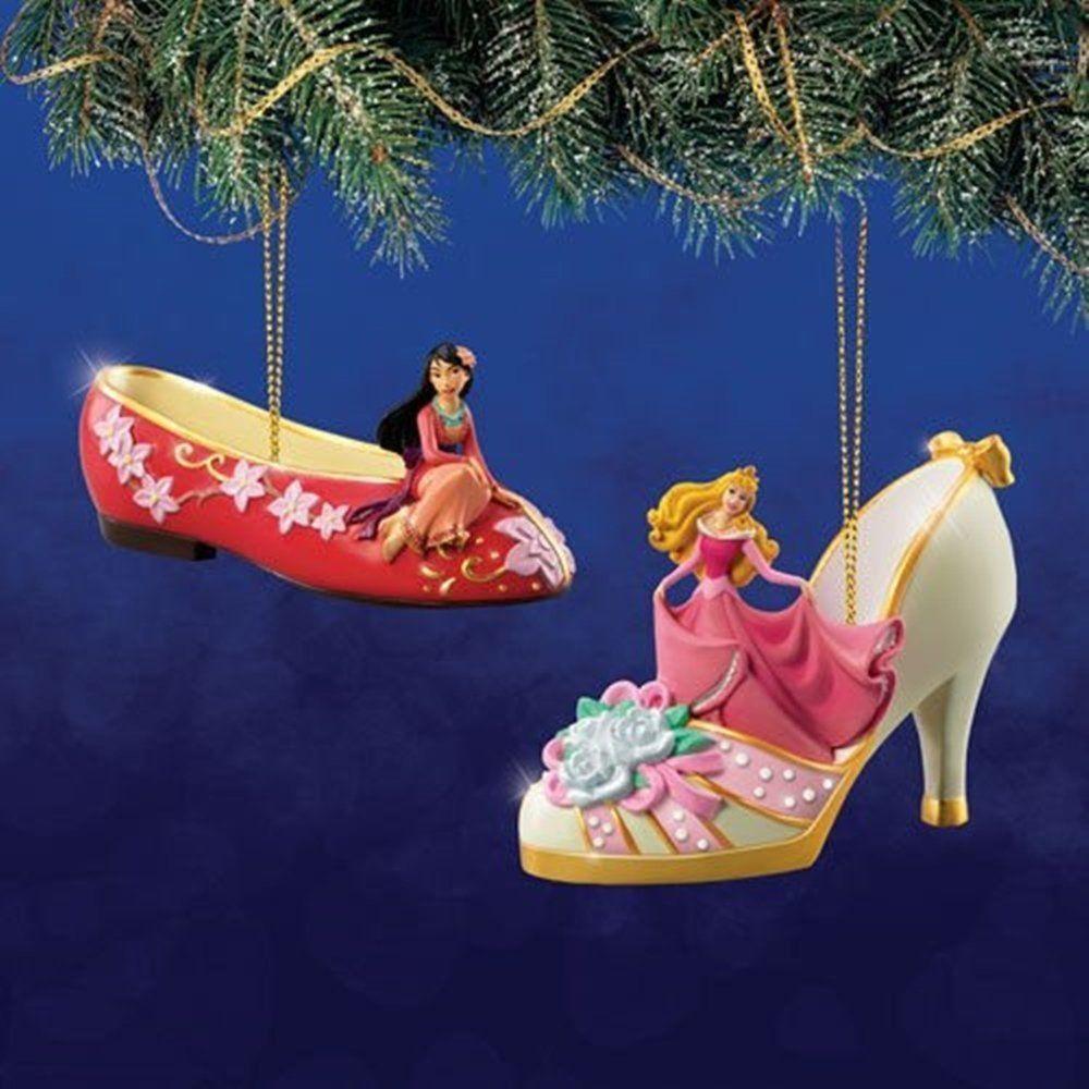 Disney Once Upon a Slipper Ornament Set #12 Mulan and Cinderella ...