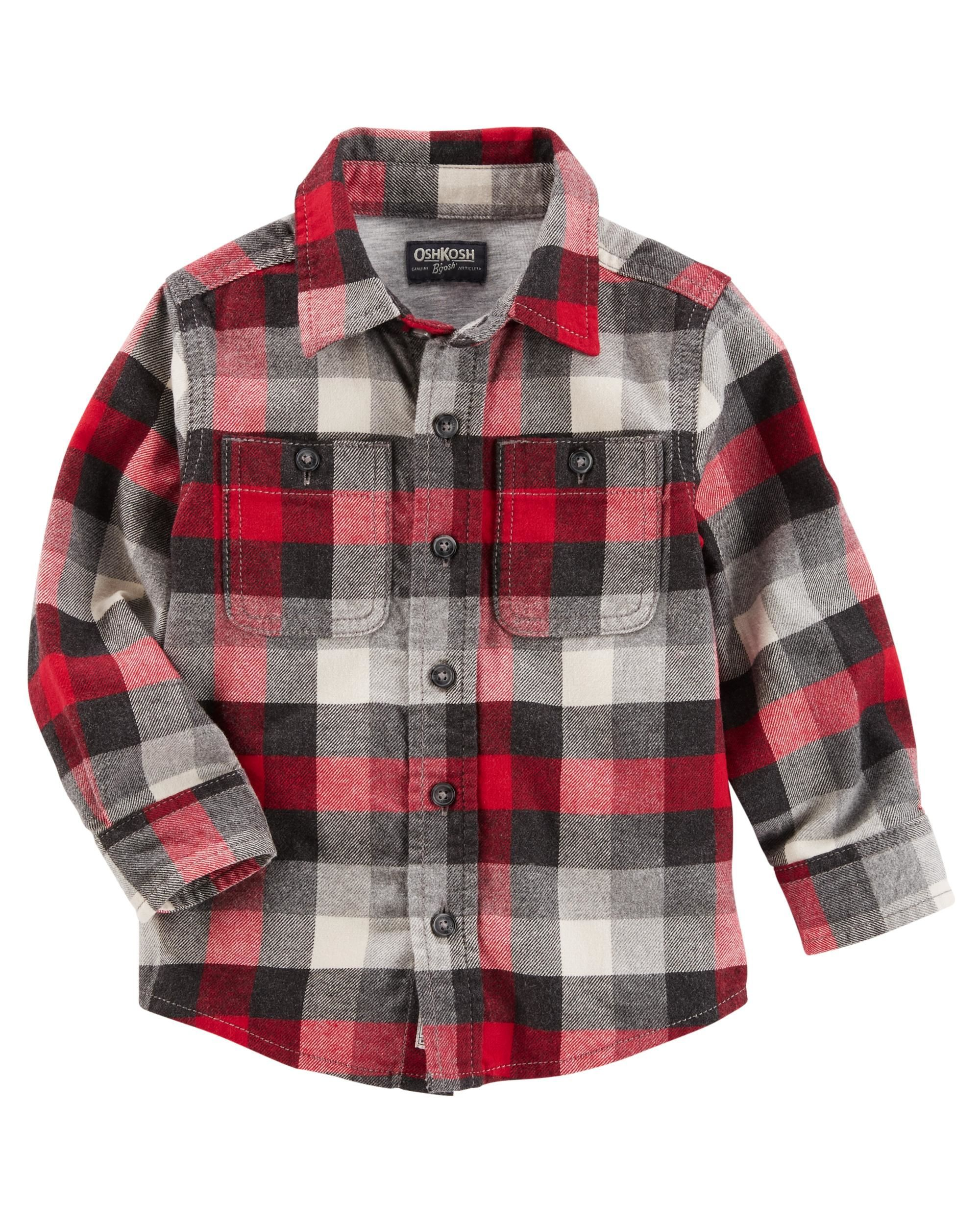 9fa3c59cc9f Kid Boy Button-Front Plaid Flannel Shirt