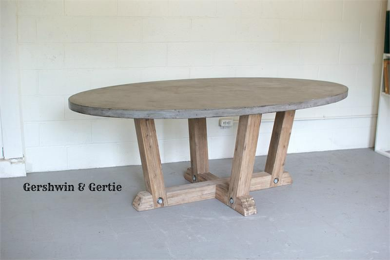 Oval Concrete Dining Table With Reclaimed Wooden Base Oval