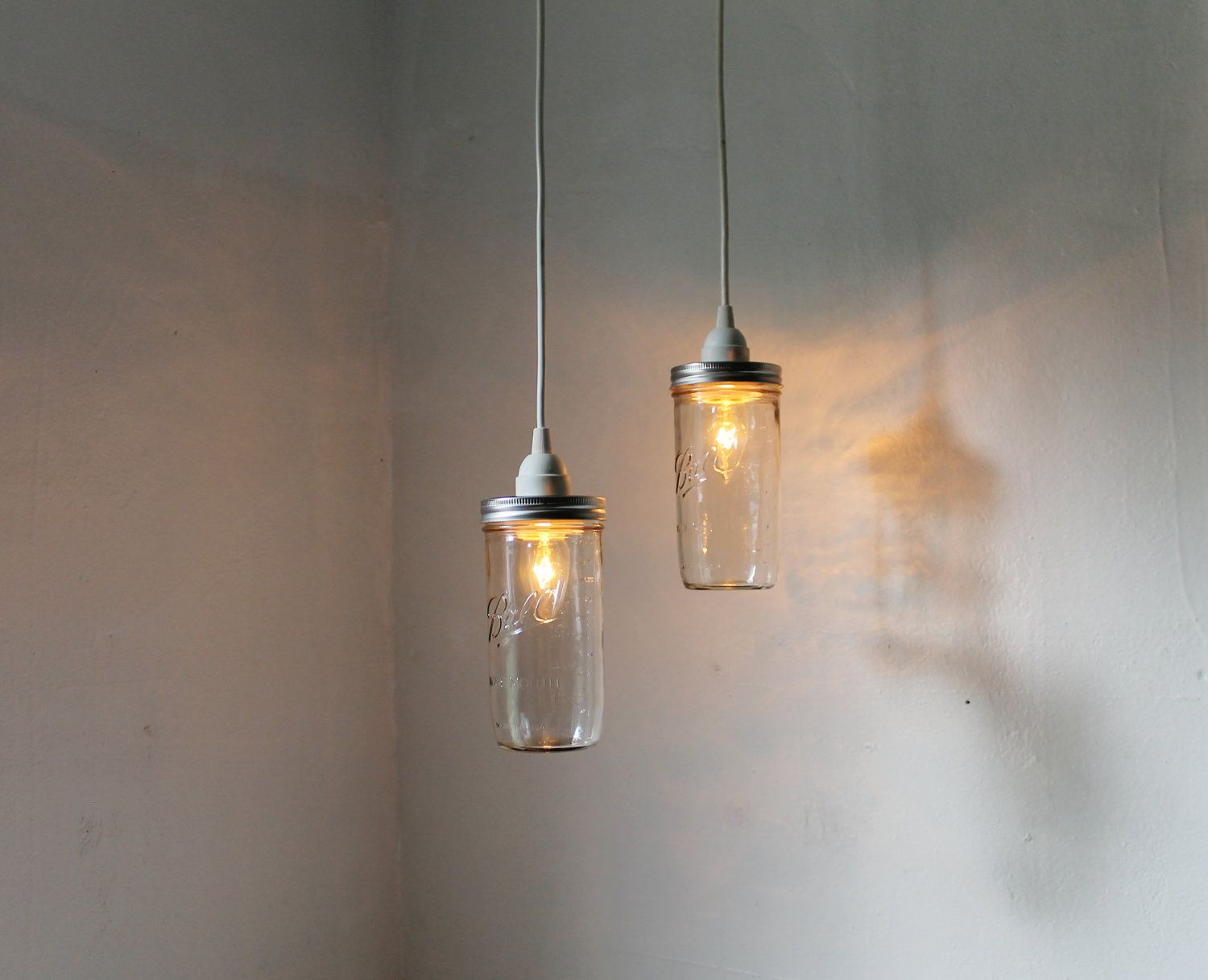 Mason jar pendant lights set of 2 hanging mason jar for Modern hanging pendant lights
