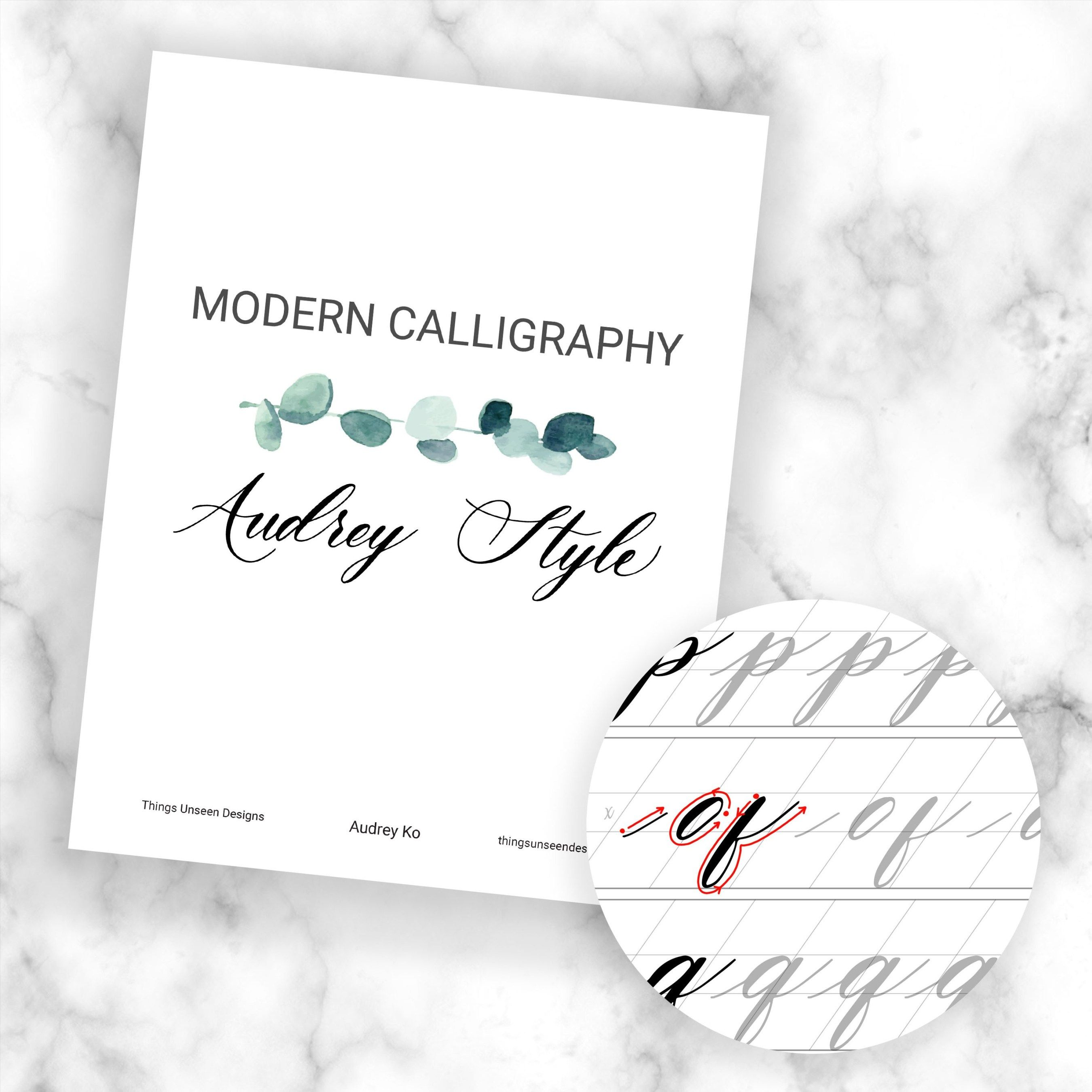 Modern Calligraphy Worksheets Audrey Style In Pointed Pen