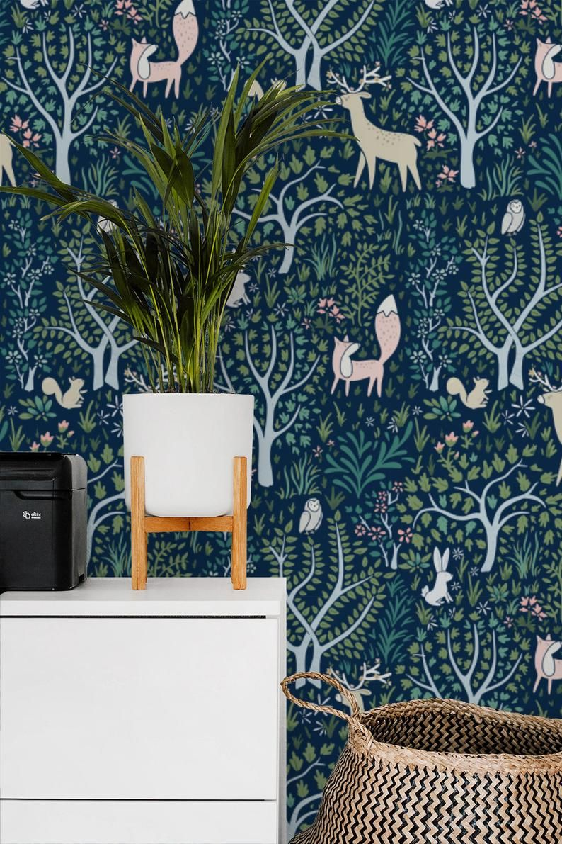 Woodland Forest Navy removable wallpaper / Nursery wallpaper / Enchanted animal peel and stick wallpaper / nature temporary wallpaper 507