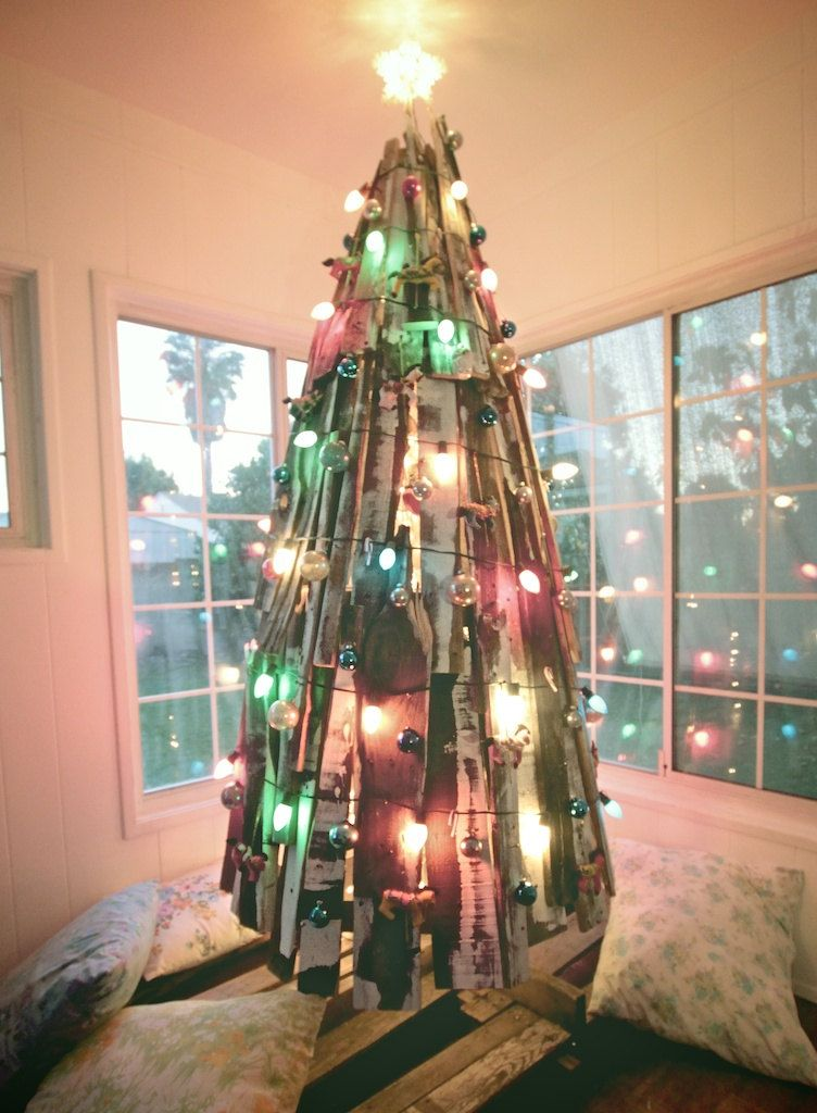 An unconventional Christmas Tree made from reclaimed wood
