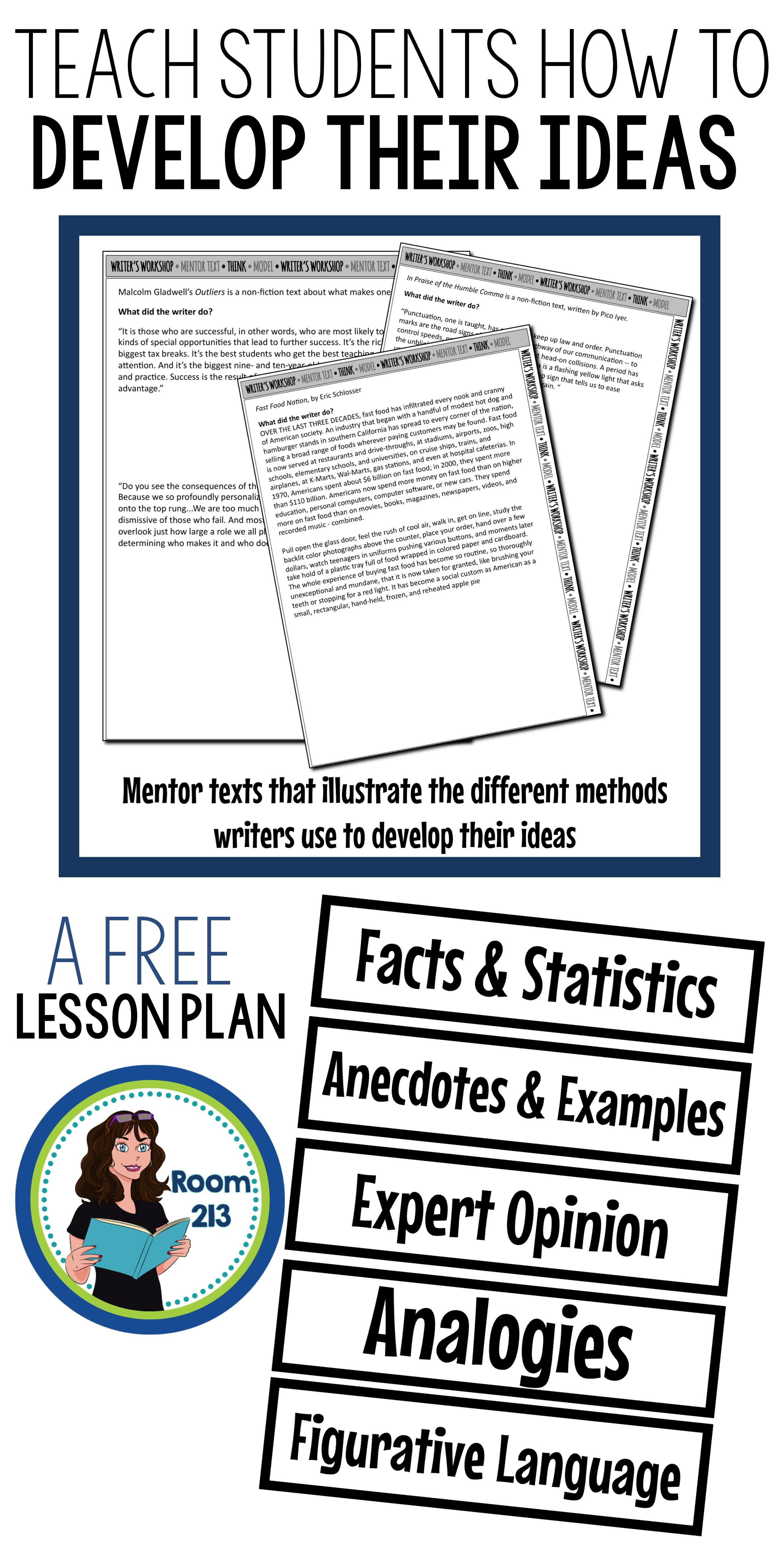 my latest blog post explains the lesson i used to help my students  my latest blog post explains the lesson i used to help my students learn to  develop their ideas when writing