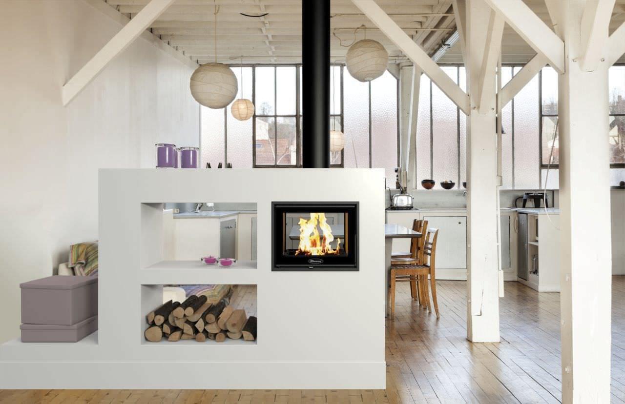 zen foyer foyer ferm bois pour chemin e double. Black Bedroom Furniture Sets. Home Design Ideas