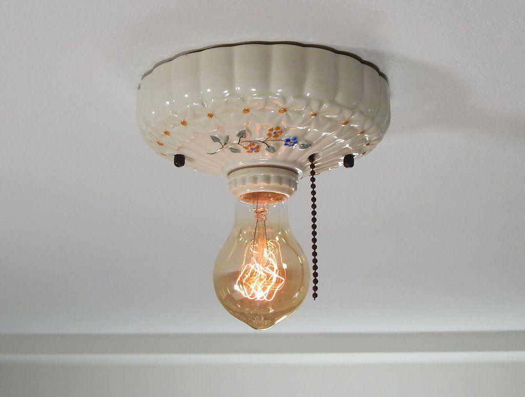 Flush Mount Vintage Porcelain Ceiling Light With Pull Chain Sold Ceiling Lights Antique Lamps Light