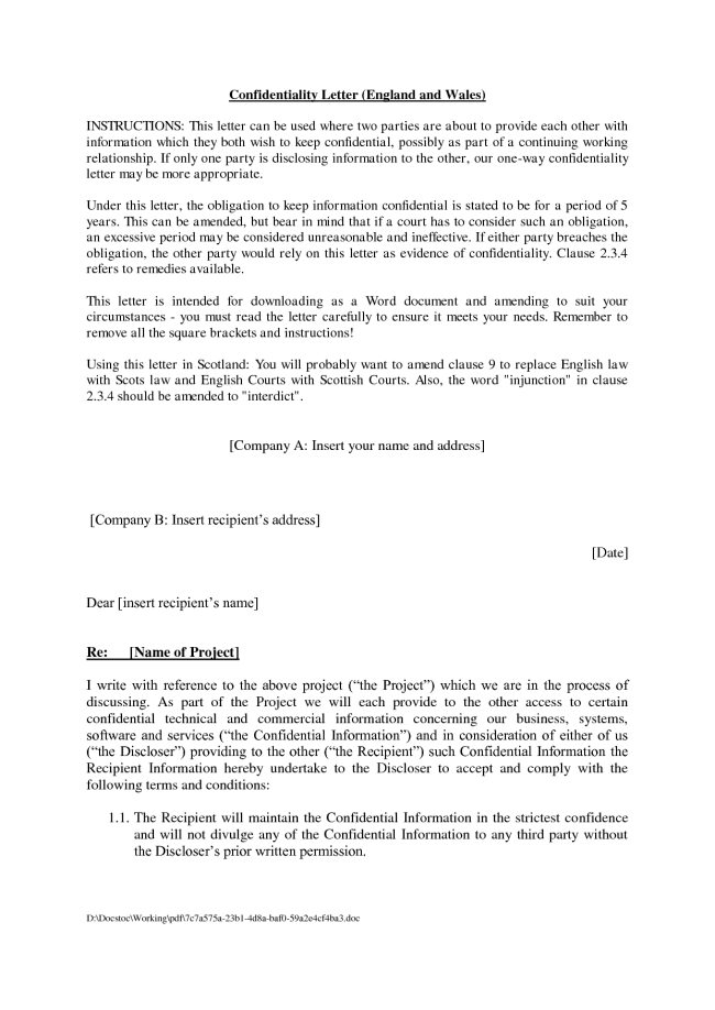 Agreement Format Of Confidential Letter Between Two