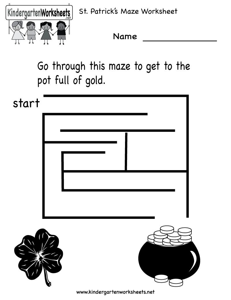 Kindergarten Saint Patrick S Day Maze Worksheet Printable Maze Worksheet Worksheets For Kids St Patrick [ 1035 x 800 Pixel ]