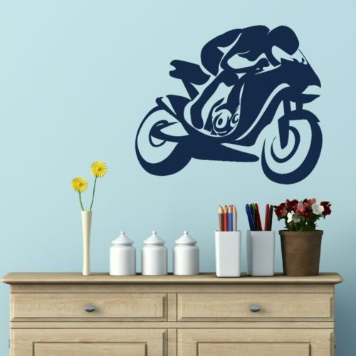 Racing Bike Motorbike Wall Sticker Stylish Vinyl Decal Art Wall Poster Paper Home Decor wallpaper mural  sc 1 st  Pinterest & Racing Bike Motorbike Wall Sticker Stylish Vinyl Decal Art Wall ...