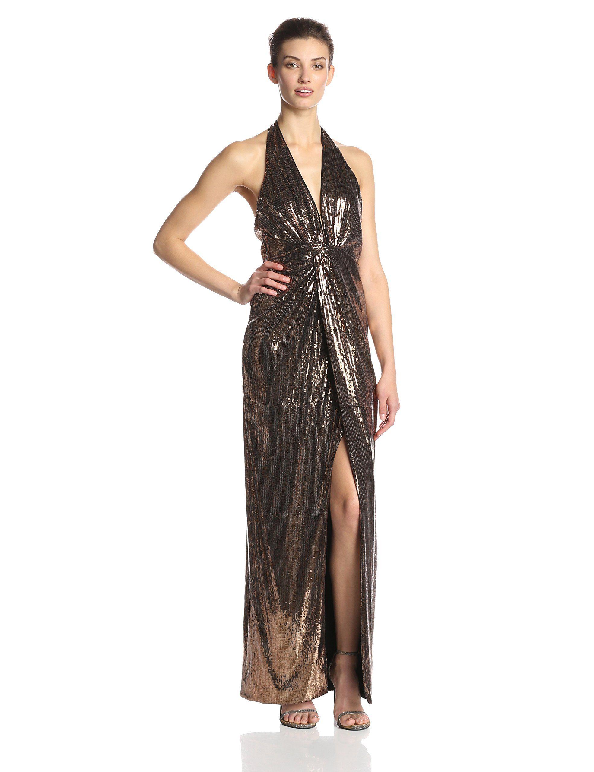 HALSTON HERITAGE Women\'s Sequin Deep V Halter Evening Gown, Bronze ...