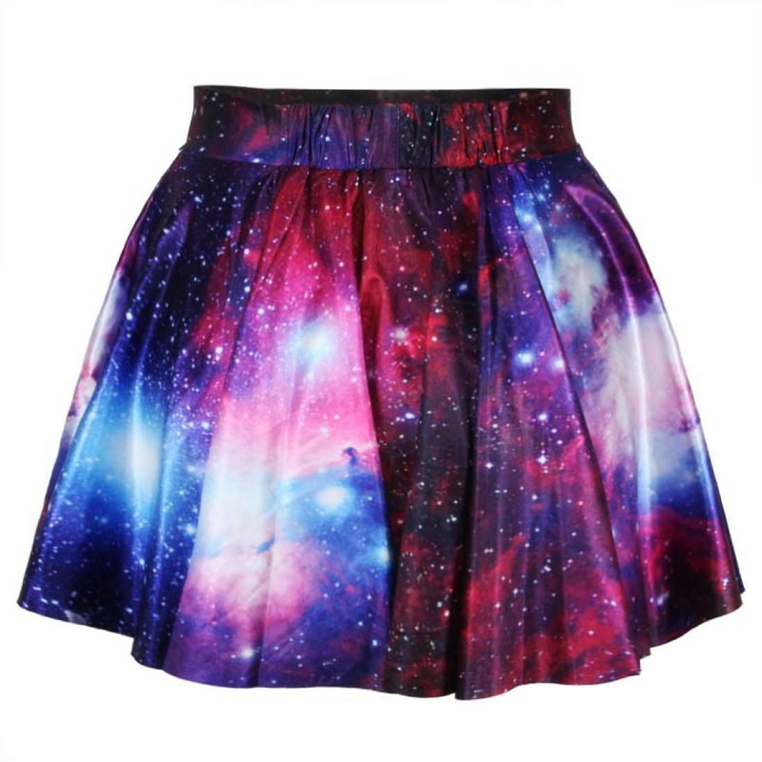 Universe Cosmic Galaxy Nebula Space Print Circle Skirt with Elastic ...