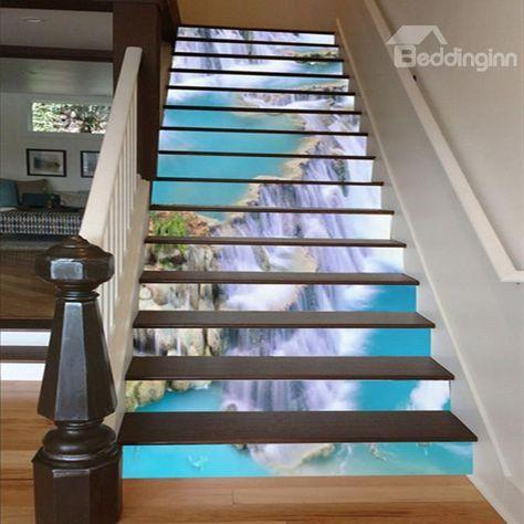 Incredible Design Waterfall Scenery Pattern Waterproof Customize 3D Stair  Steps Sticker   Beddinginn.com