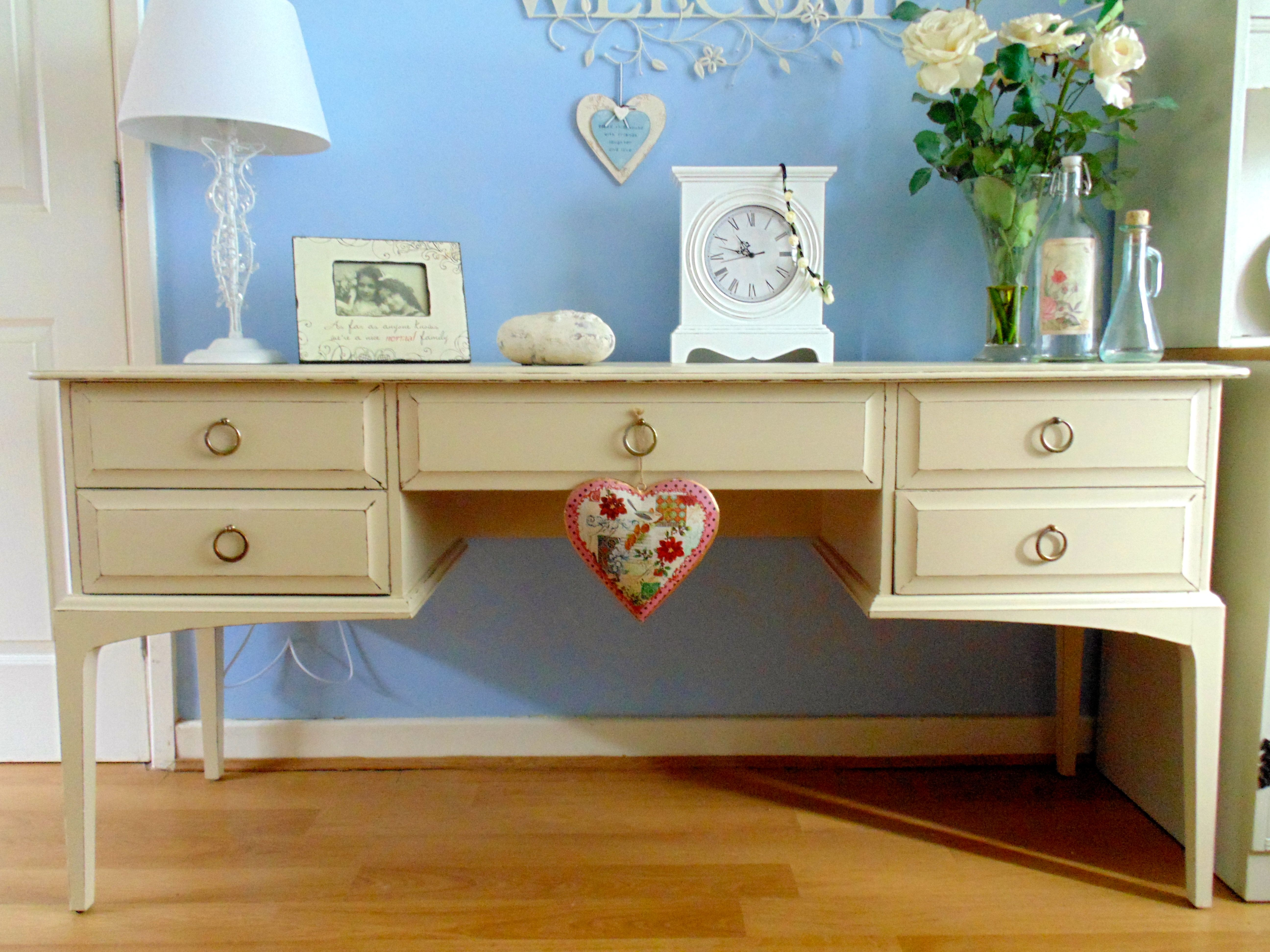 Preloved Bedroom Furniture Stag Dressing Table Desk Triple Mirror 5 Drawers Chair Annie