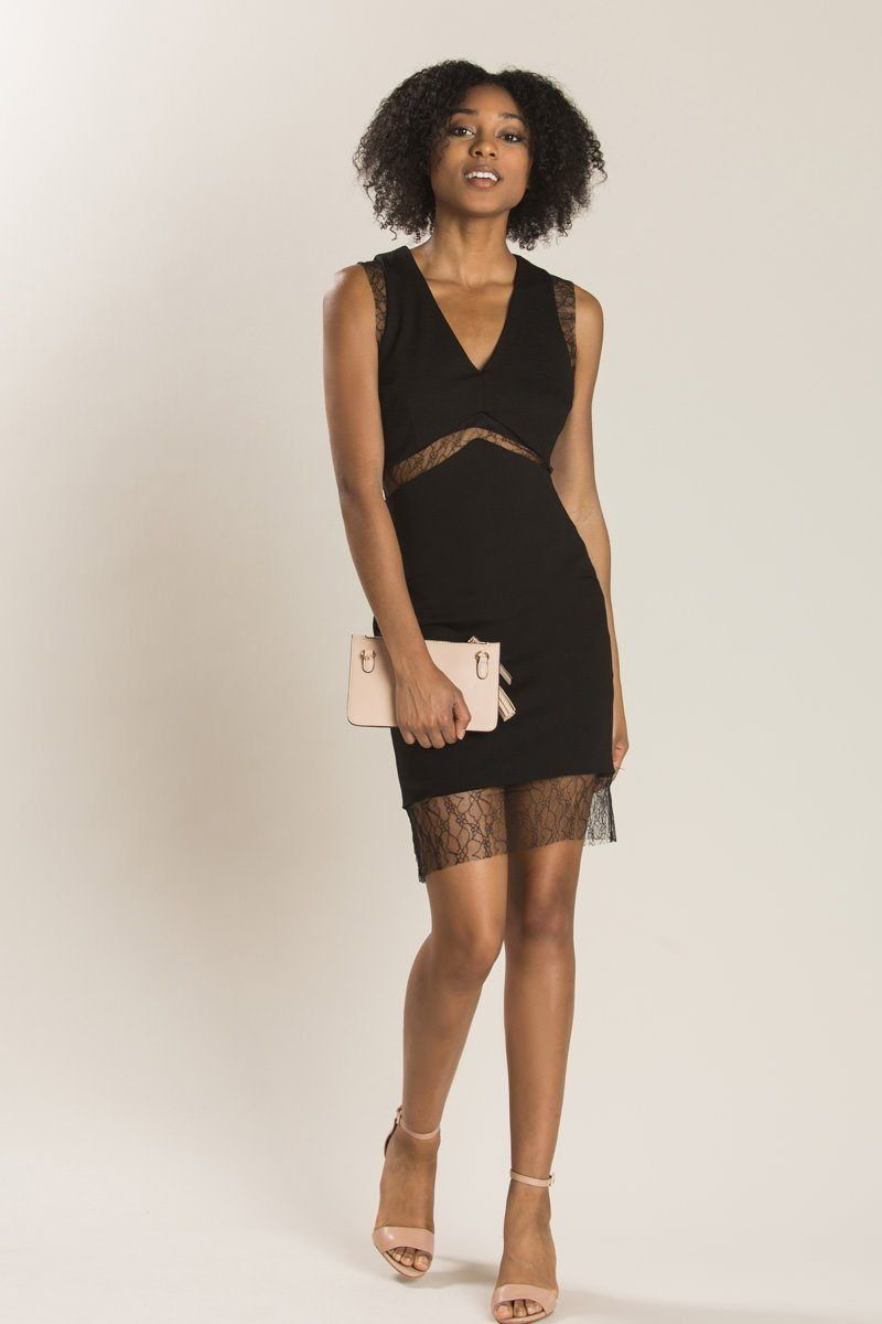 Natalie black lace detail dress girlsu night outfits pinterest
