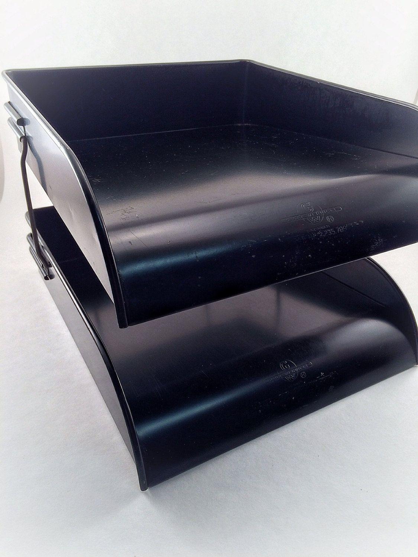 industirial file tray metal desk organizer 2 tier vintage globe wernicke metal desk tray mid century - Desk Organizer Tray