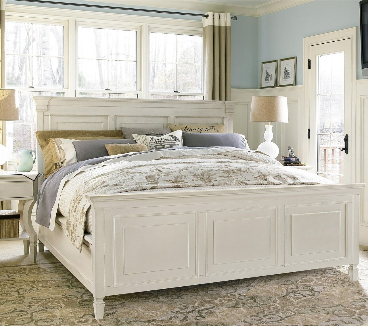 Country Chic White King Panel Bed Frame Bedroom Sets Bedroom