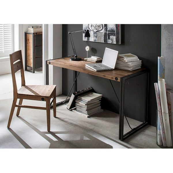industrie design schreibtisch manchester akazie massiv metall massivholz furnlab m bel. Black Bedroom Furniture Sets. Home Design Ideas