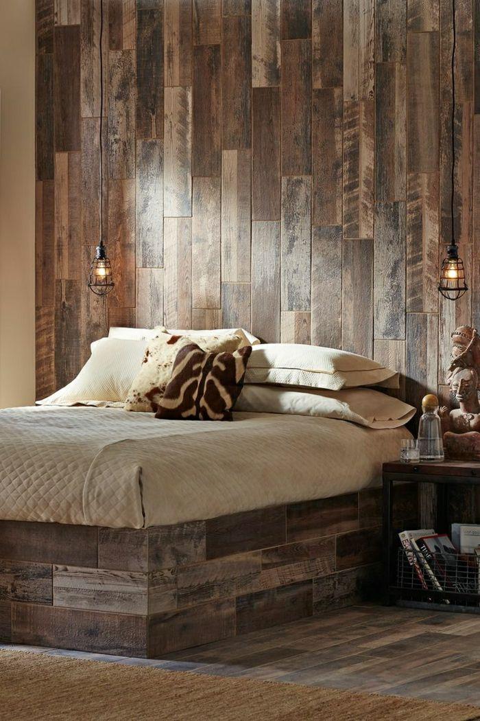 Rustikale Wandgestaltung Aus Holz Wandverkleidung Holz Innen, Fliesen  Holzoptik, Wohn Schlafzimmer, Schlafzimmer Inspiration