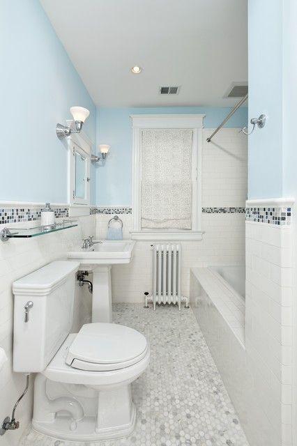 White Subway Tile Halfway Up Walls With Glass Accent Tile White Subway Tile Bathroom Modern Bathroom Design Tile Traditional Bathroom Tile