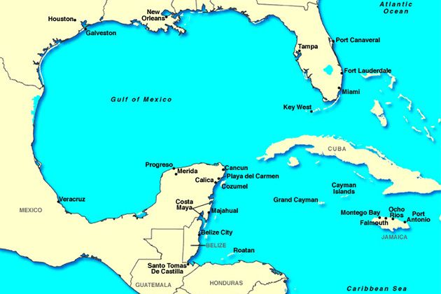 Islands And Ports Of The Western Caribbean Map Vacationstogo - Southern caribbean map