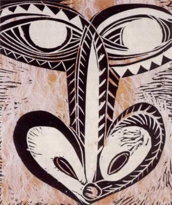 FATU FEU'U Orongo 1992 Woodblock on barkcloth, laid on paper, 596 x 490 mm. (Collection of Auckland Art Gallery Toi o Tamaki)