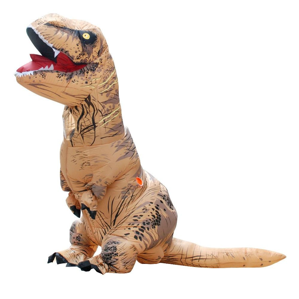 you can be the king of the jurassic world with this 87 inches t rex inflatable costume this dinosaur halloween costume inflates by the battery operated fan