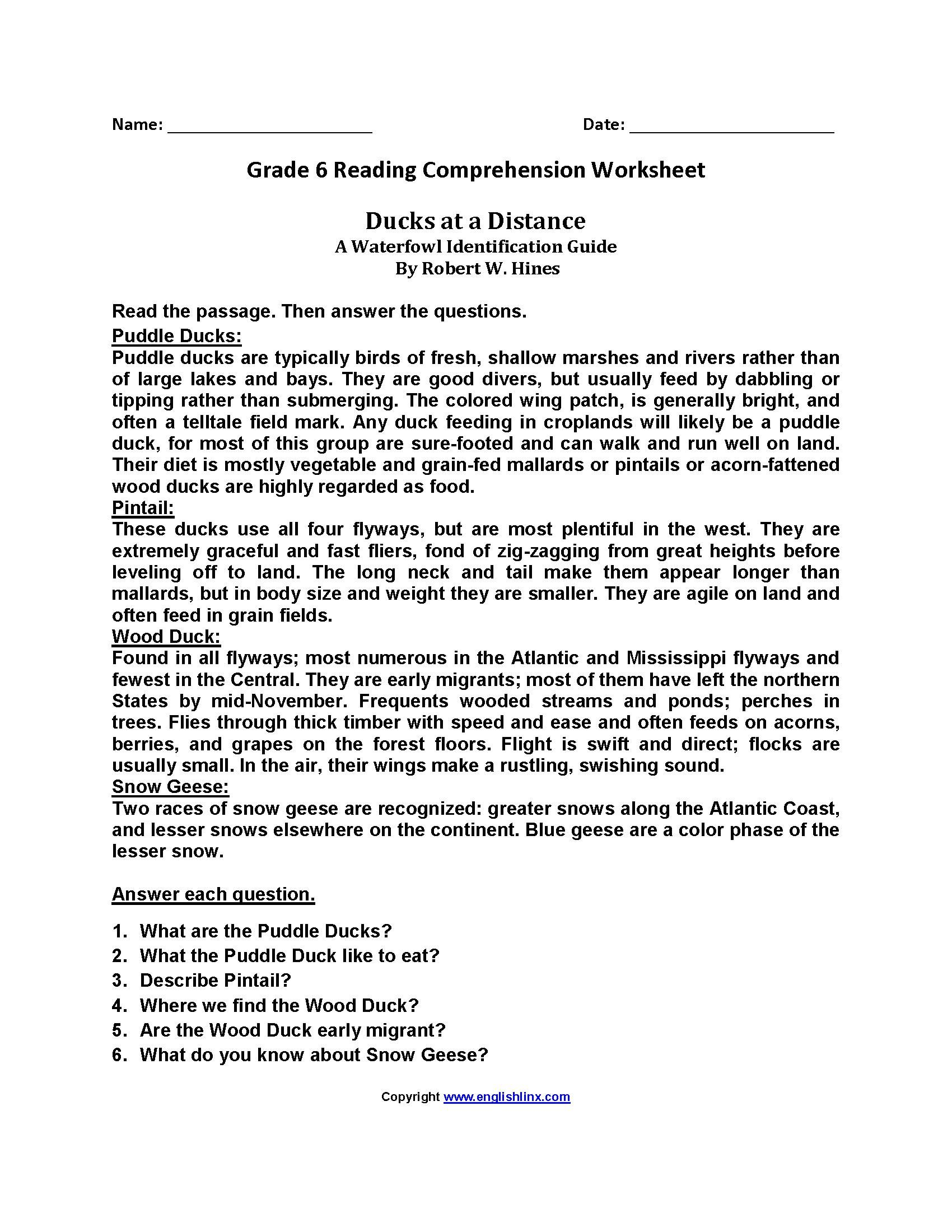 Free Printable Reading Comprehension Worksheets Year 6 Uk