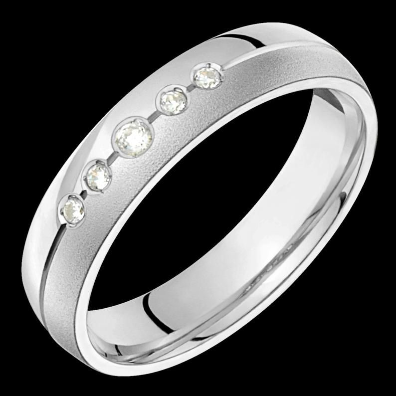 5mm wide comfort fit 10k white gold solid not plated