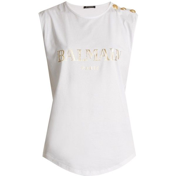 931ed665043 Balmain Logo-print cotton-jersey tank top ($175) ❤ liked on Polyvore  featuring tops, white, embellished tank, one shoulder tank, one shoulder  tops, ...