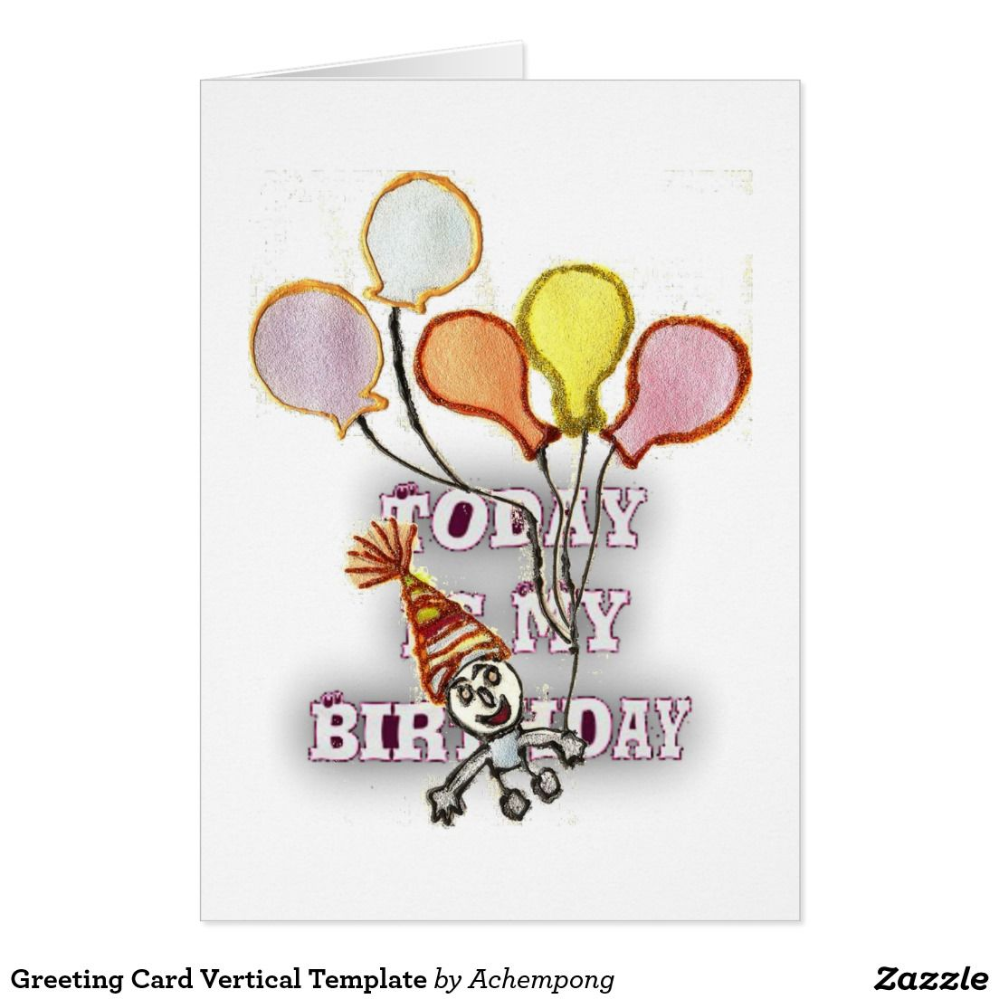 Greeting Card Vertical Template Zazzle Com Birthday Postcards