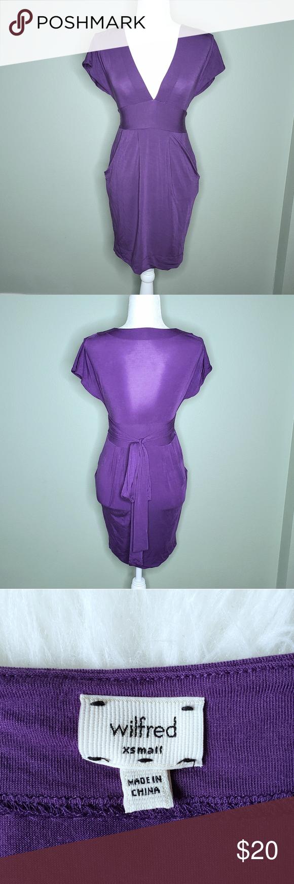 Wilfred Purple Cap Sleeve Deep V Neck Dress Sz Xs V Neck Dress Deep V Neck Dress Colorful Dresses [ 1740 x 580 Pixel ]