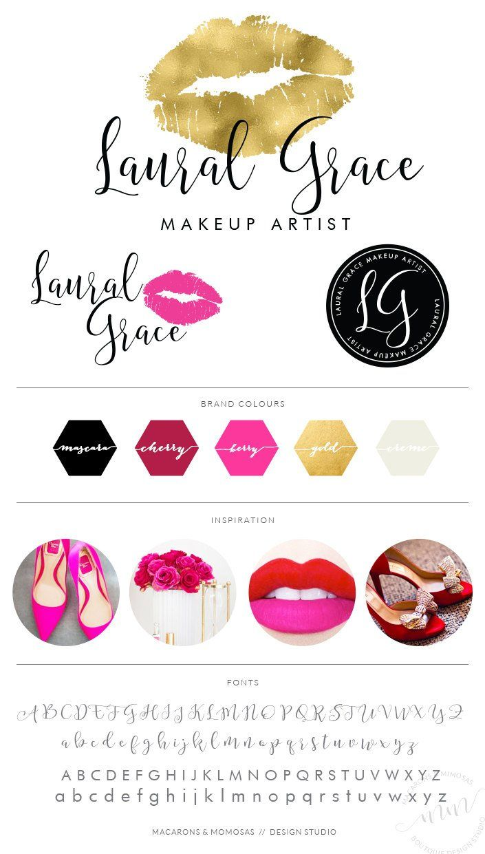Makeup Logo Design Lips Logo gold Branding kit Make up