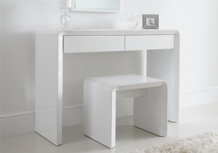 White Gloss Dressing Table And Chair: Ice High Gloss Dressing Table Only - White