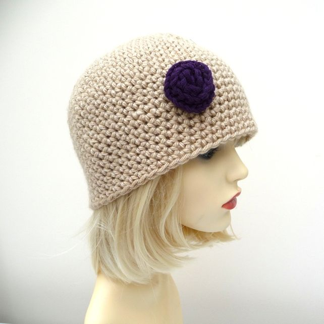Adult Crochet Hat with Crochet Rose Beige Purple £7.50