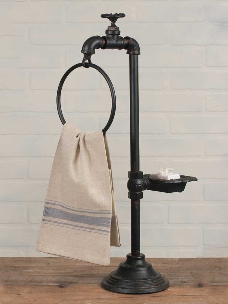 Rustic Water Pump Soap Dish Cast Iron Primitive Country Farmhouse Bathroom Decor