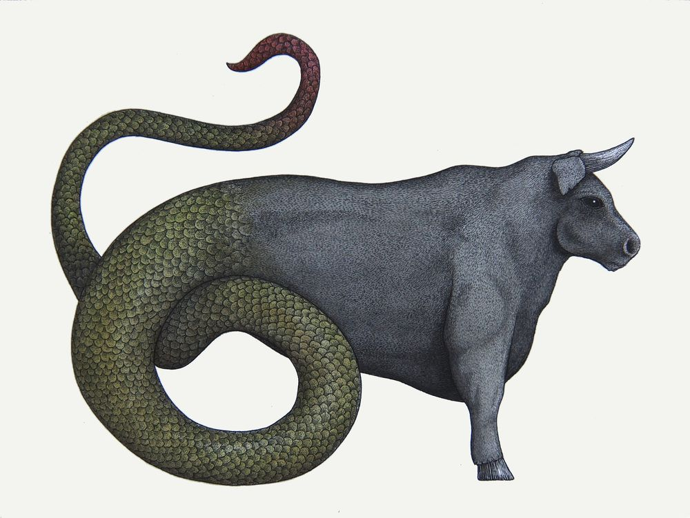 Ophiotaurus - mix of a bull and a serpent - Greek Mythology; It was said to be born out of Chaos with Gaia and Uranus and it could only be killed by being chopped up and burning the chopped parts. It was slain by a Titan but could be saved by one of Zeus' eagles before being burnt.