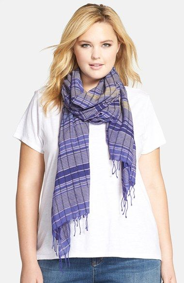 Eileen Fisher Embroidered Organic Cotton Scarf (Plus Size)