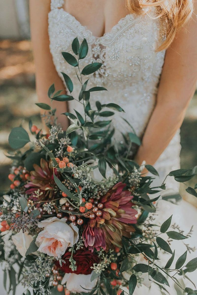 Deep Green Red Bridal Bouquet Style 2307 By Casablanca Bridal