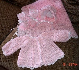 Hand Crocheted Baby Sweater Set Any Color Or Size New Books