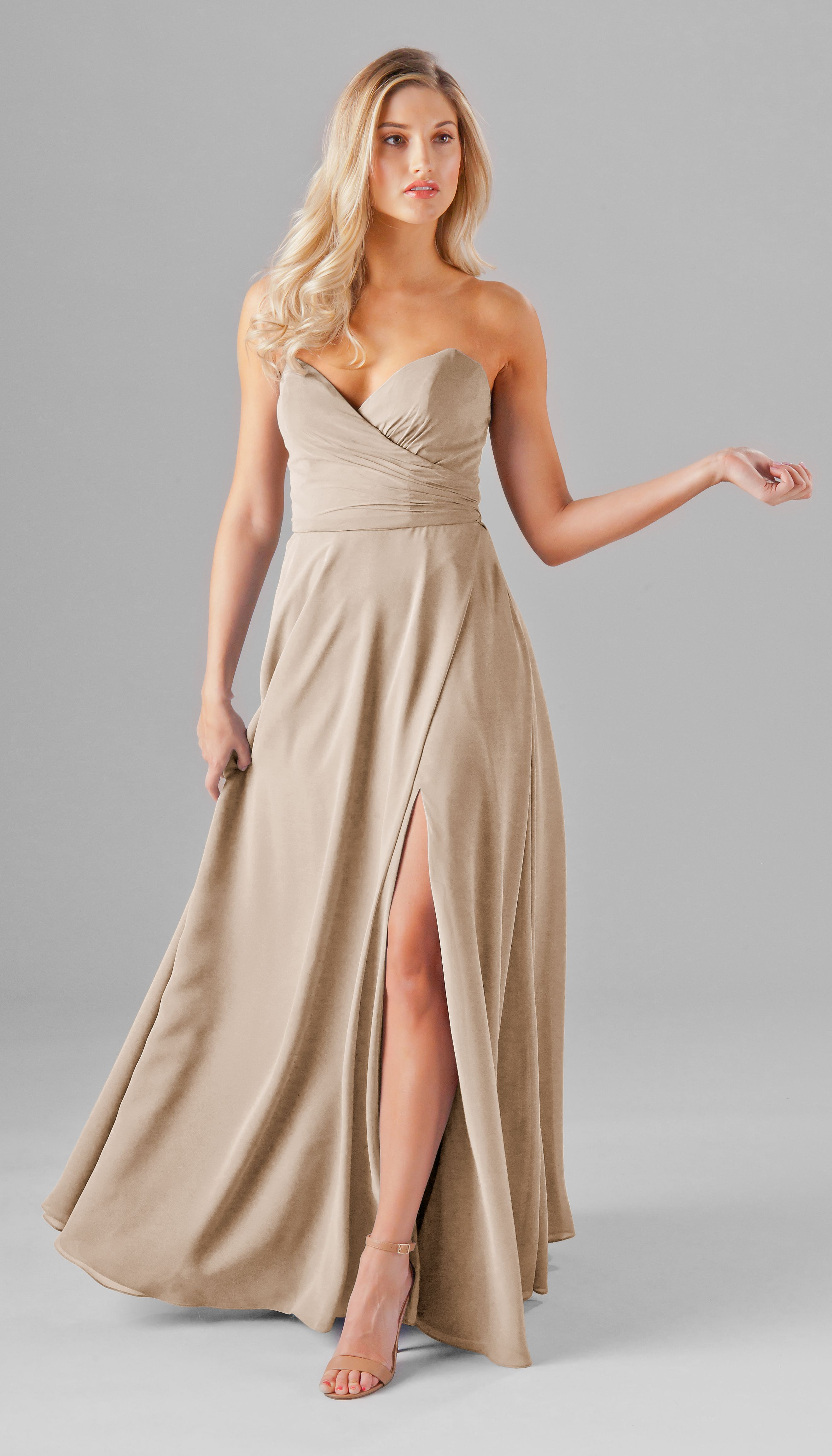 Poppy latte bridesmaid dresses tan wedding and chiffon a strapless chiffon bridesmaid dress with pockets and a slit kennedy blue poppy strapless ombrellifo Image collections