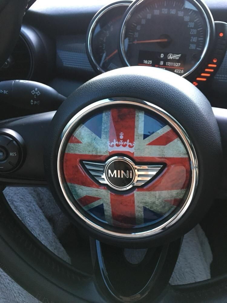 Mini Cooper Steering Wheel Panel 3d Pu Decal Sticker Union Jack