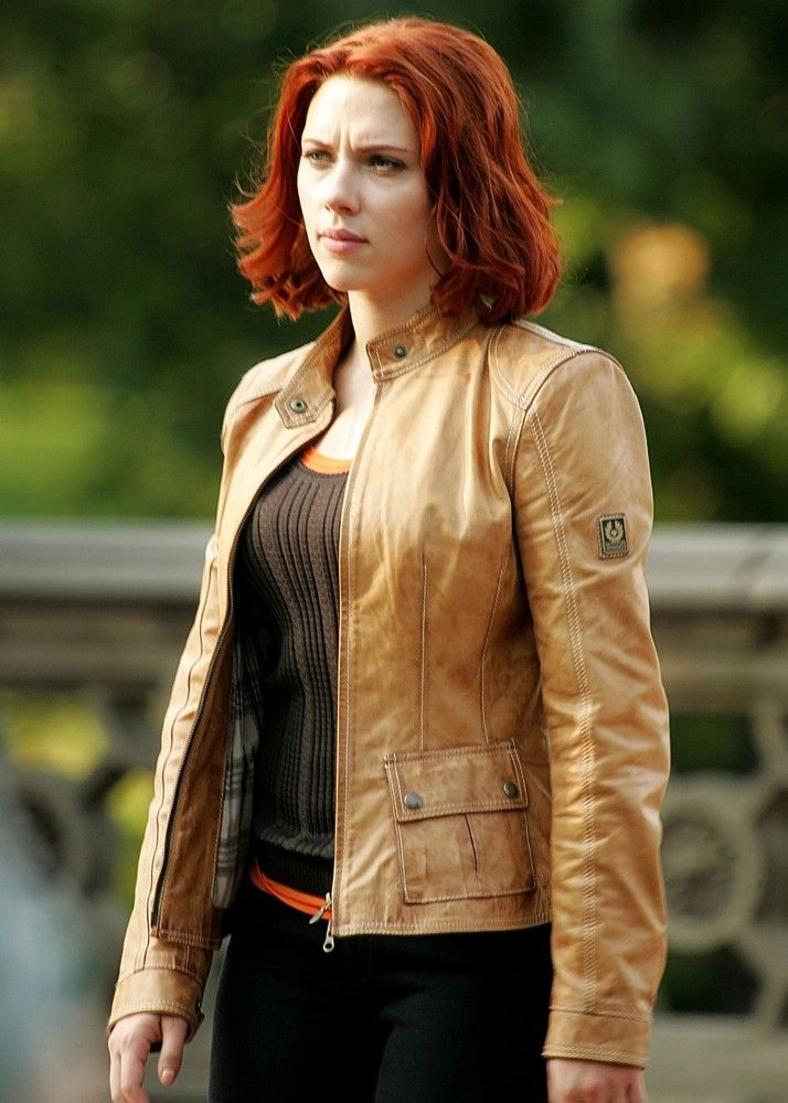 Scarlett Johansson Tan Leather Jacket  58249bf01bf