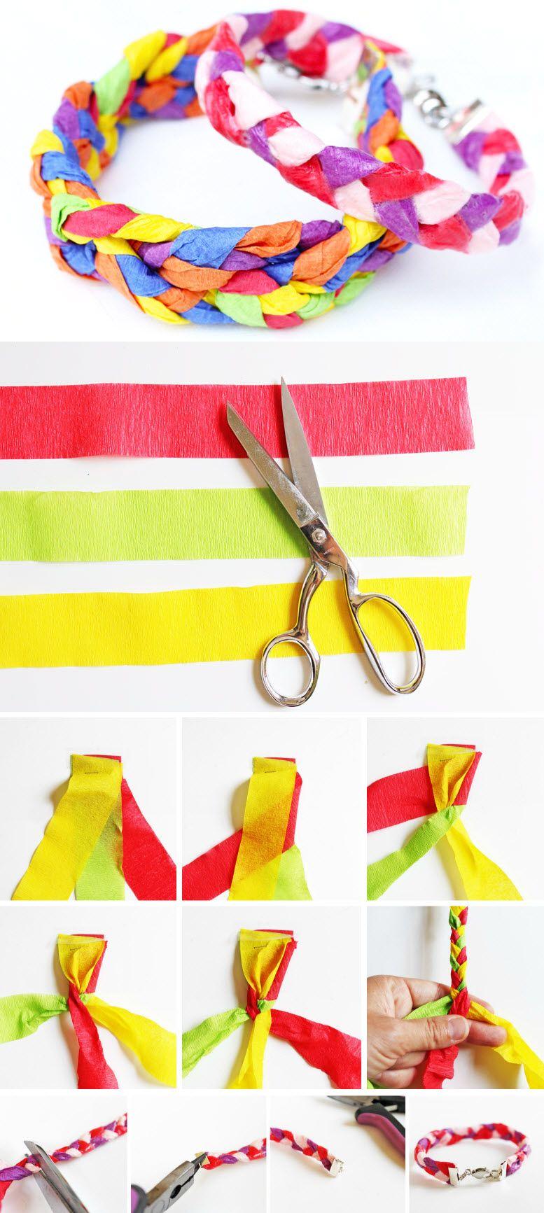 Comment utiliser le papier cr pon pour faire des bracelets - Comment faire des tresses ...