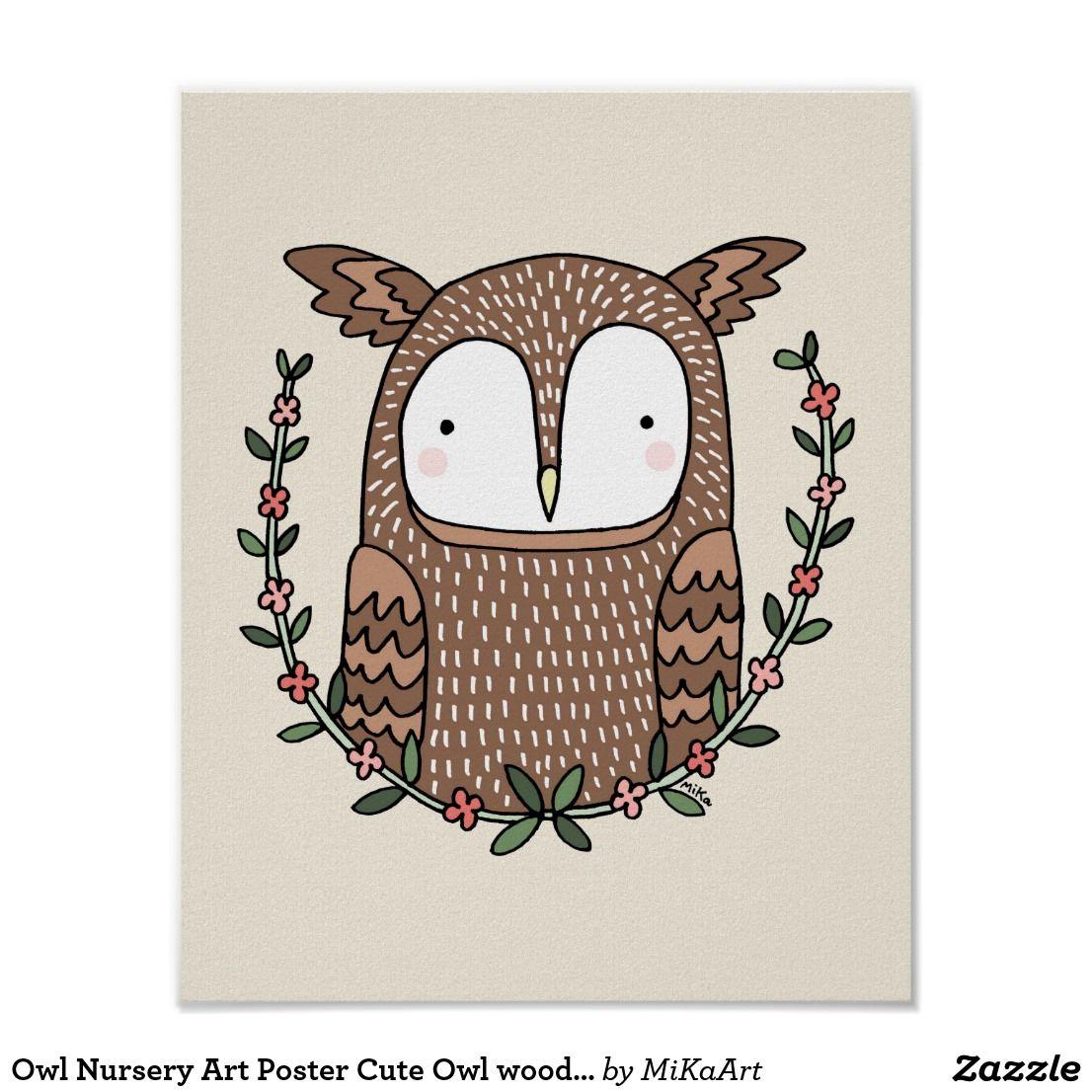 Owl Nursery Art Poster Cute Woodland